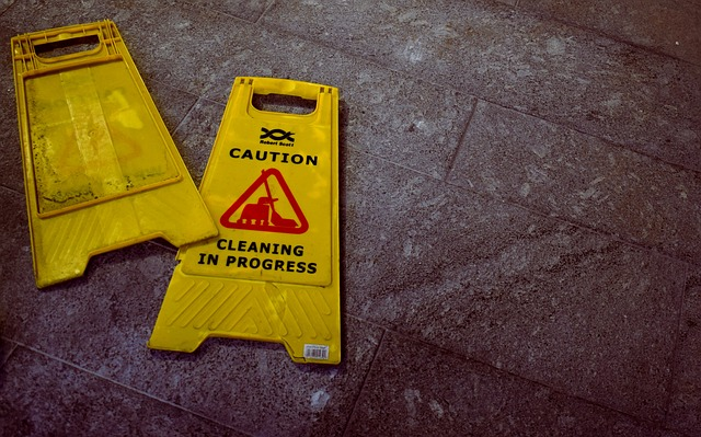 Caution signs on the ground